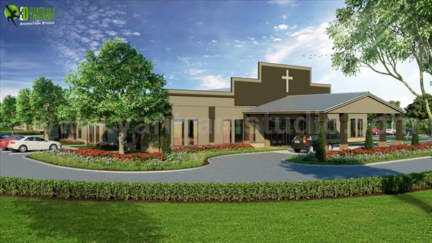 New Modern Exterior Design of the USA Church by yantramstudio
