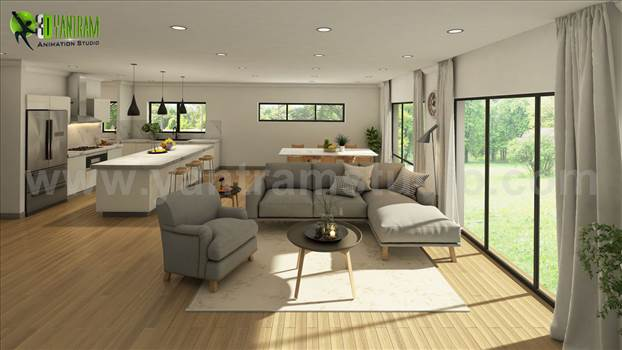 Vintage 3D Exterior - Interior Modeling, Living room in Open Sunlight view with Wooden Furniture, Latest Trend kitchen with Attractive Lamps & Wooden Furniture, Latest Design bathroom with Black Marble, Vintage 3D Exterior Modeling and architecture with M