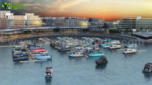 Project 160: Beach Hotel View with Yacht Station Design Client: 902. Kyle Location: Dubai - UAE  Exterior Architectural Beach Hotel View with Yacht Station Rendering by Yantram 3D Exterior Rendering Services, A seaside 3D Render which shows the entire