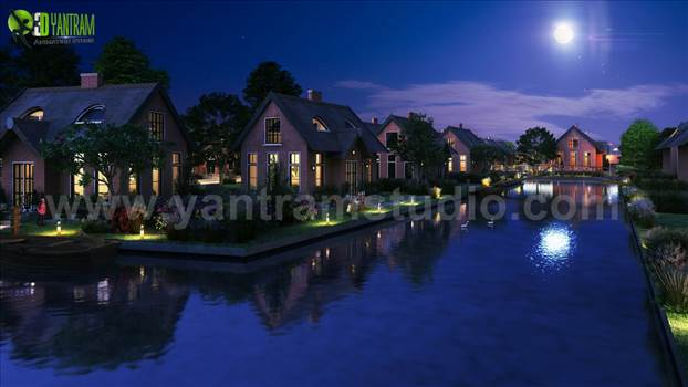 Project 165: Night View of Waterside Exterior Villa