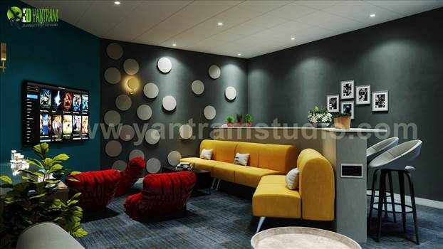 Luxury Modern Media Room Interior Design, A Lavish and Comfortable Modern Media Room 3D Interior Design For Enjoyment, Modern Media Room For DVDs, Game Consoles and Electronics, Luxuries Media Room with Yellow Sofa, White Cushion, Black Glass Table, Tv Pr