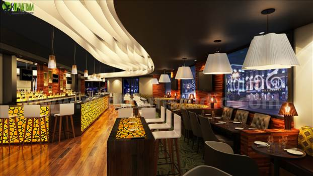Bar 3D Interior Night View Rendering Design Liverpool by yantramstudio