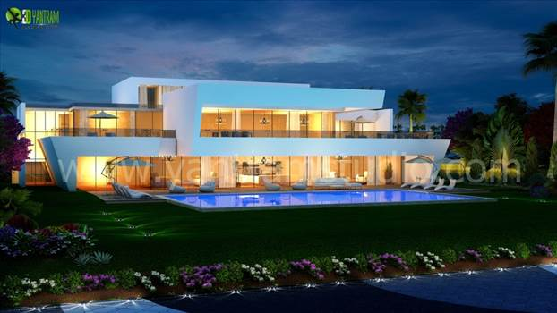 3D Exterior Night View Pool Design by yantramstudio