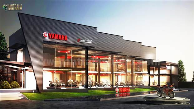 New yamaha Vehical Pod showroom concept of 3d architectural visualisation by 3d rendering services.jpg by yantramstudio