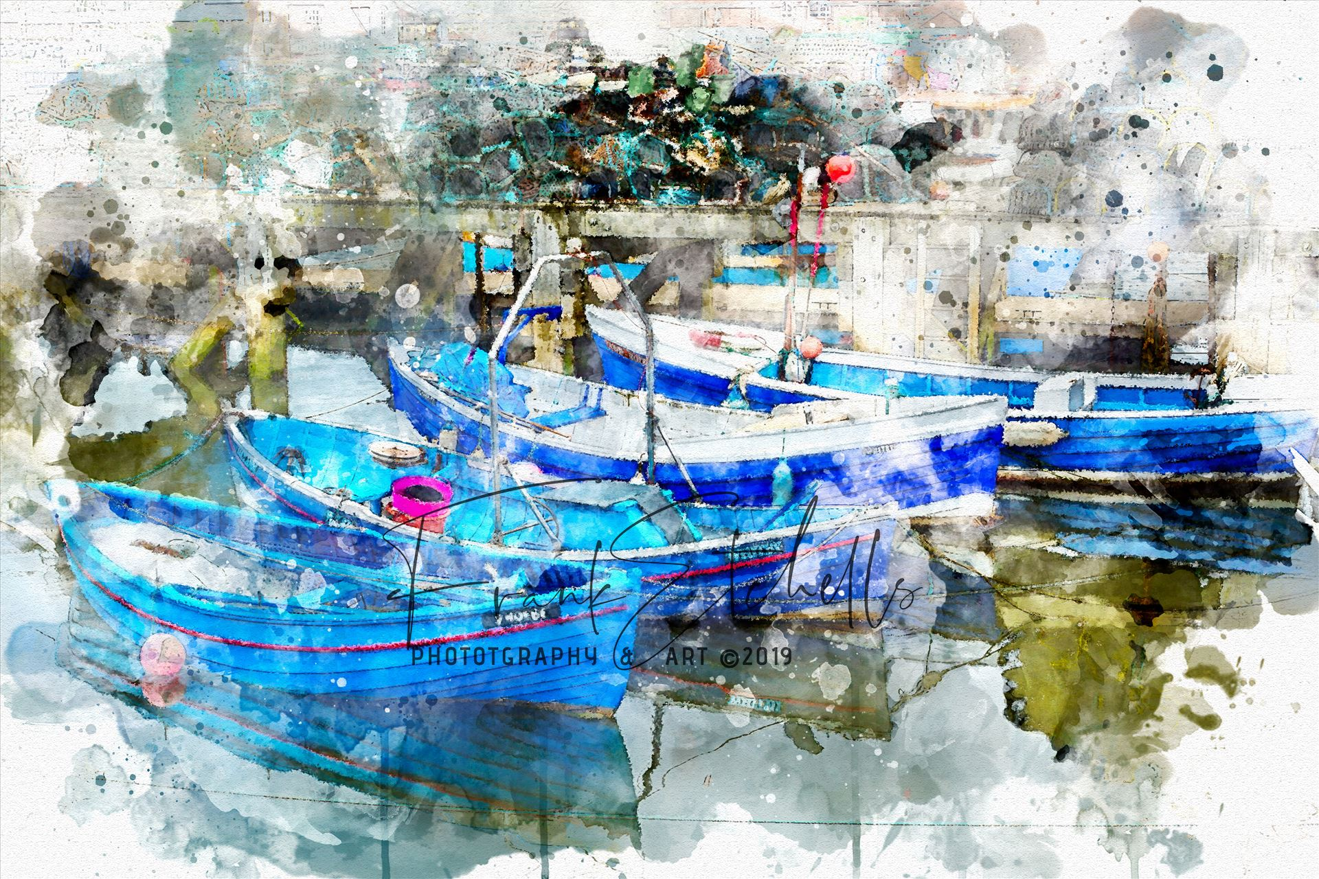"Four Tethered Boats Whitby A ""Watercolour"" digital conversion/rendition of an image taken in 2012 on a visit to Whitby, Yorkshire in 2012. A walk through the town brought us to the harbour quay side and these tethered boats, colourful and clean, nicely reflecting in the water... by Frank Etchells Photography"
