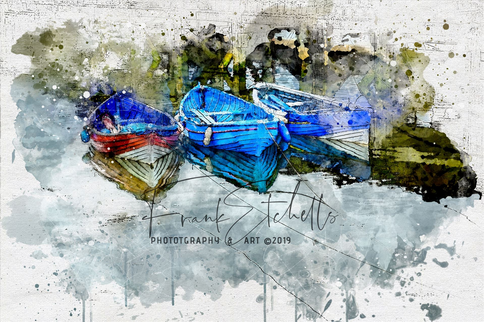"Three Tethered Boats Whitby (Watercolour) This is a ""Watercolour"" effect conversion of the photograph.