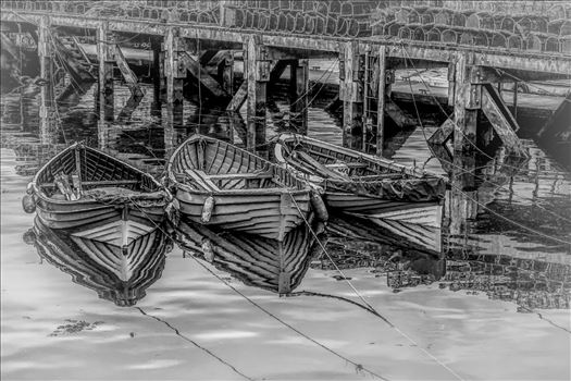 Tethered Boats, Whitby 1, Edit; Cartoon-BWII by Frank Etchells Photography