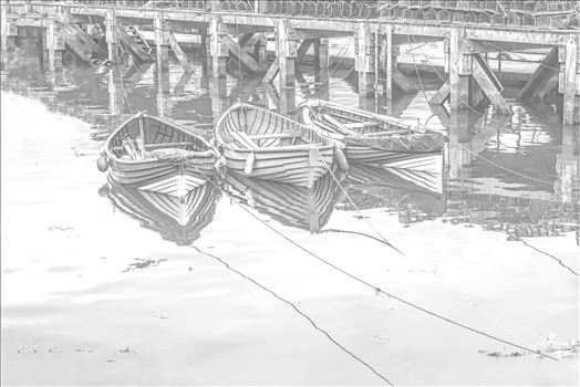 Three Tethered Boats Whitby. Edit; Pencil 2 by Frank Etchells Photography
