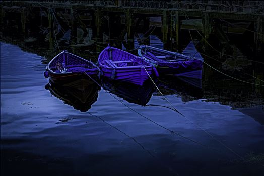 Boats by Moonlight, Edit - \u0027\u0027Digital Art conversion: On a trip to Whitby in Yorkshire in 2012 and a walk through the town brought us to the harbour quay side and these small tethered boats. Edit to give a \u0027moonlit\u0027 effect...