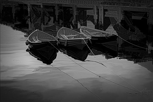 Tethered Boats, Whitby 1, Edit; Vector Subtle PA - On a trip to Whitby in Yorkshire in 2012 and a walk through the town brought us to the harbour quay side and these small tethered boats, their bows and ropes reflected in the sea water and lobster pots neatly in stacks on the walkway. A \
