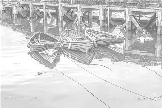 Three Tethered Boats Whitby. Edit; Pencil 1 by Frank Etchells Photography