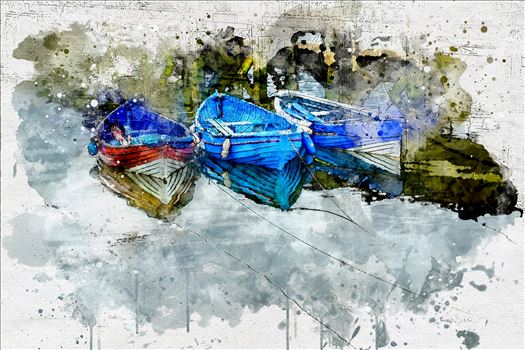 Three Tethered Boats Whitby (Watercolour) by Frank Etchells Photography