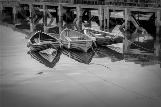 Tethered Boats, Whitby 1, Edit; Line Ink_VIII by Frank Etchells Photography