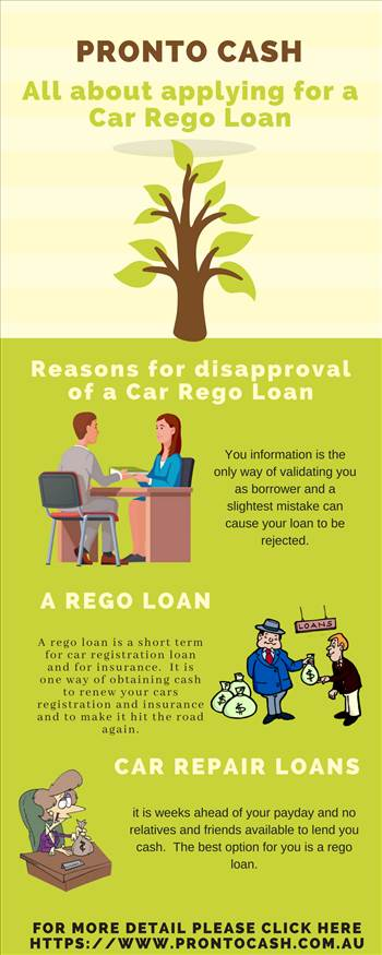 All about applying for a Car Rego Loan by ProntoCash