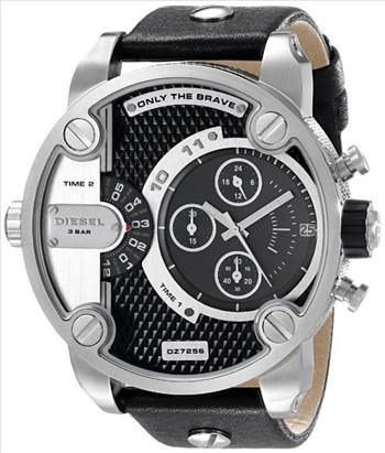 Diesel Little Daddy Chronograph Dual Time Black Dial DZ7256 Mens Watch.jpg -