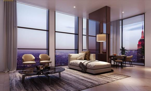 EveningScene-3D-Rendering-of-Living-Room-in-a-high-rise-tower-Chicago-1160x700.jpg by ArchitectureVisualization