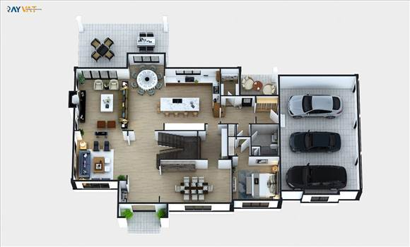 2D Floor Plan Rendering idea with floor, Sections & elevation. We can deliver it with texture furniture and landscape detail. 2D Floor plan Rendering Services : With a 2D Floor plan Rendering Services you can take potential clients through your house desi