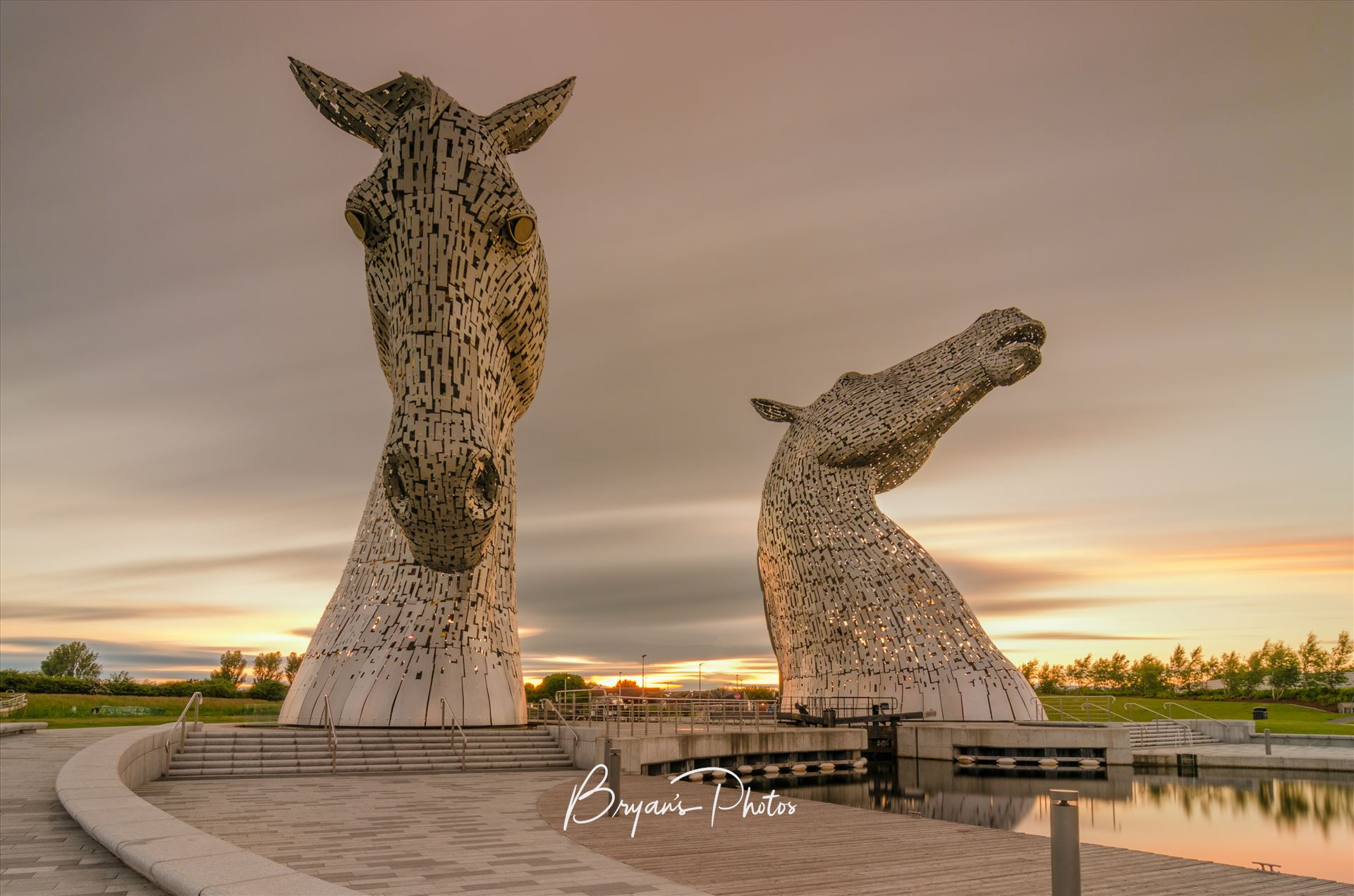 The Kelpies A long exposure Photograph of the Kelpies taken as the sunsets. by Bryans Photos