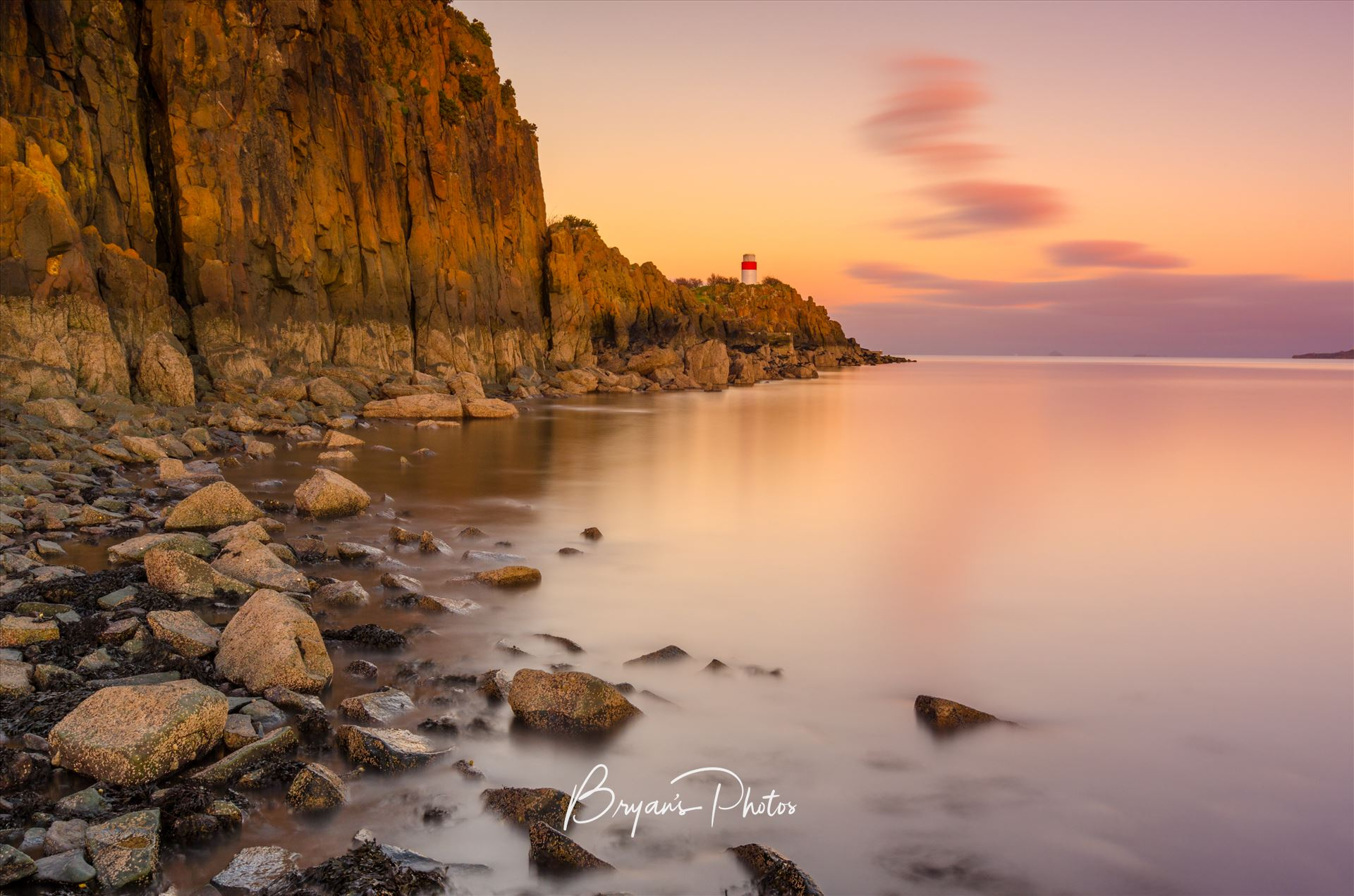 The Point A colour long exposure photograph taken at sunset of Hawkcraig point Aberdour. by Bryans Photos