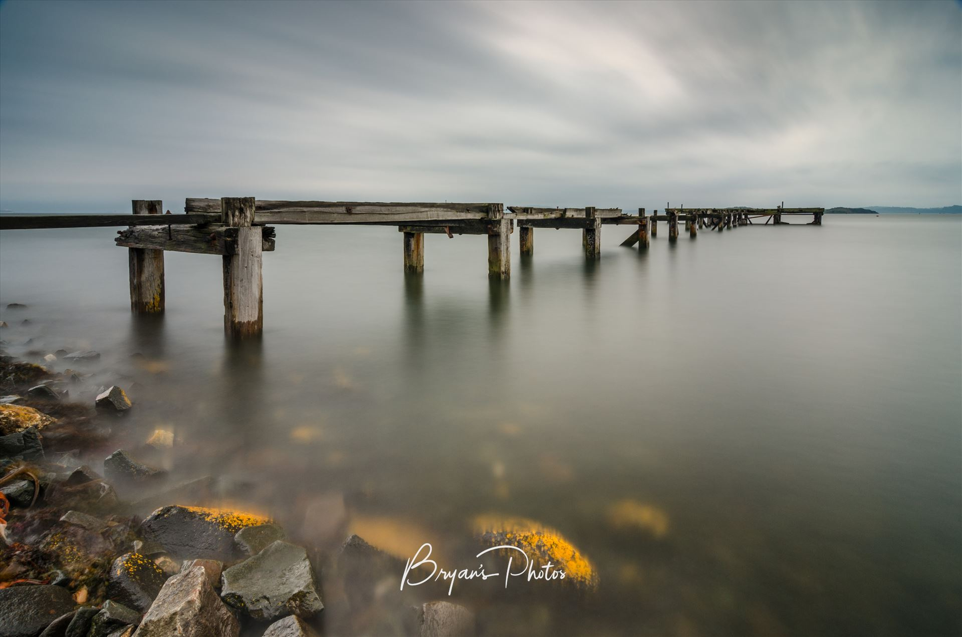 Pier at Aberdour Landscape A daytime long exposure of a disused pier at Aberdour on the banks of the river Forth on the Fife coast Scotland by Bryans Photos