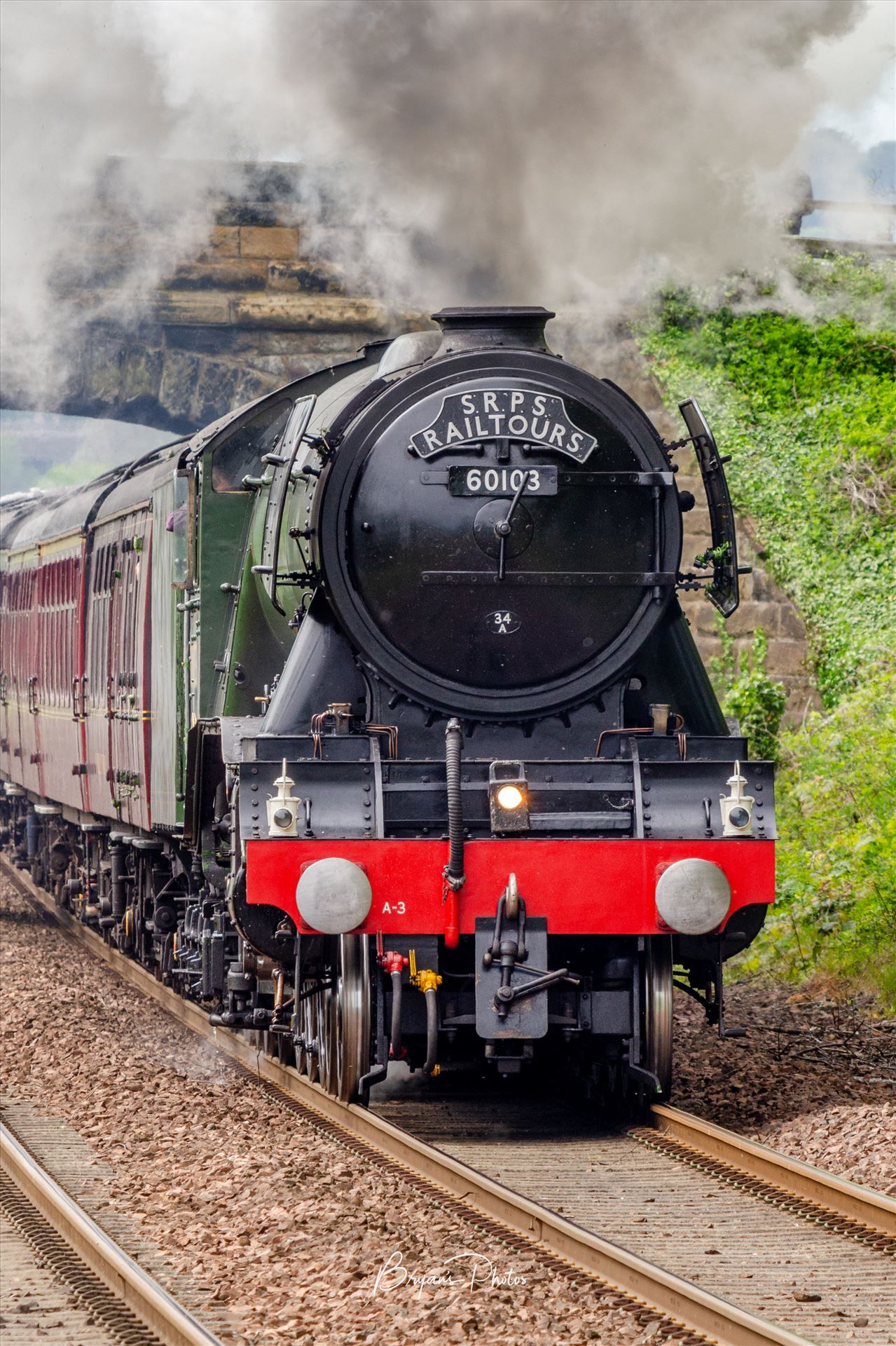 Full Steam Ahead A photograph of the Flying Scotsman as it powers towards Dalgety Bay on the Fife circle. by Bryans Photos