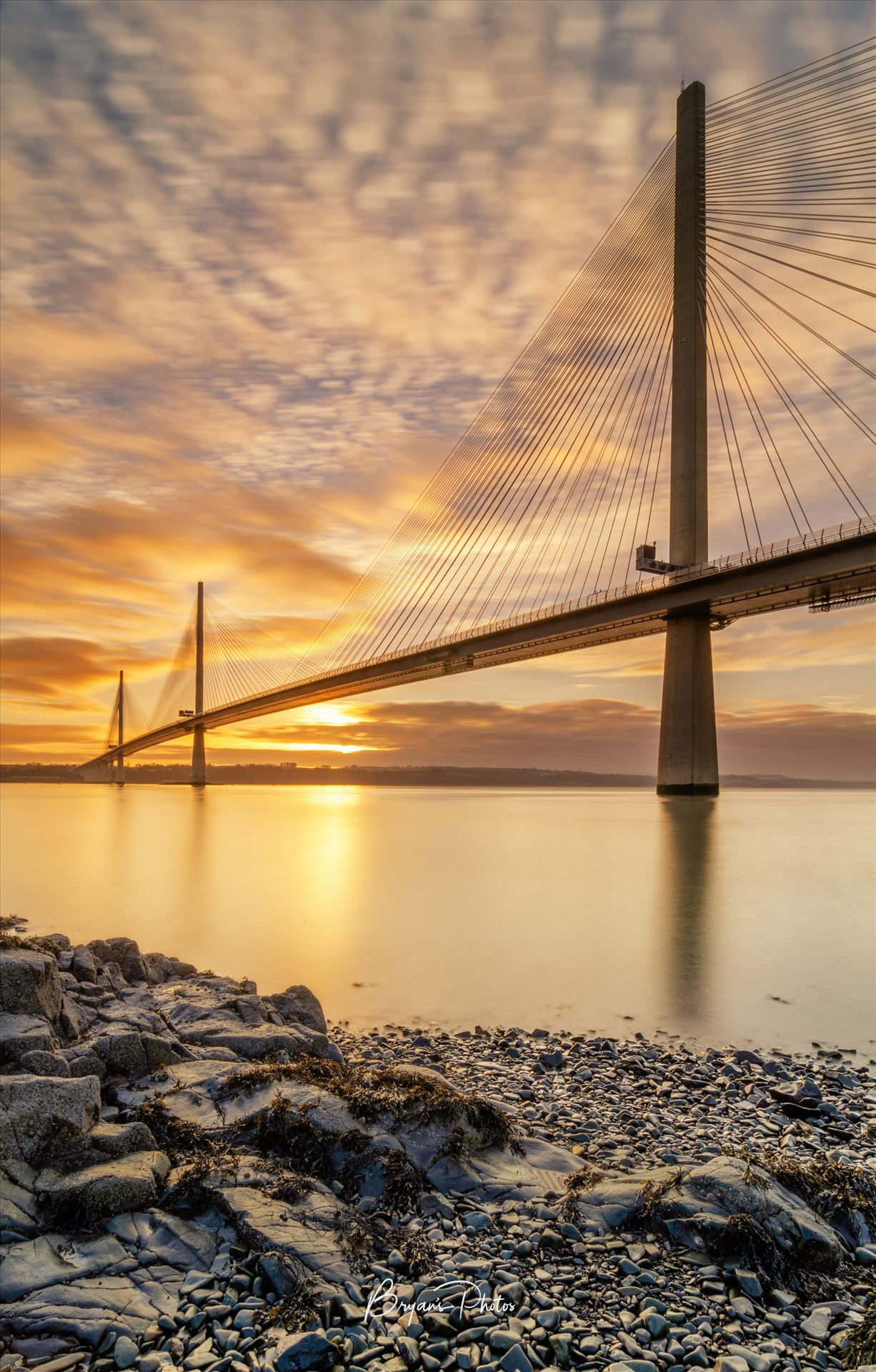 Queensferry Sunset Portrait A portrait photograph of the Queensferry Crossing taken at sunset from North Queensferry on the Fife coast. by Bryans Photos