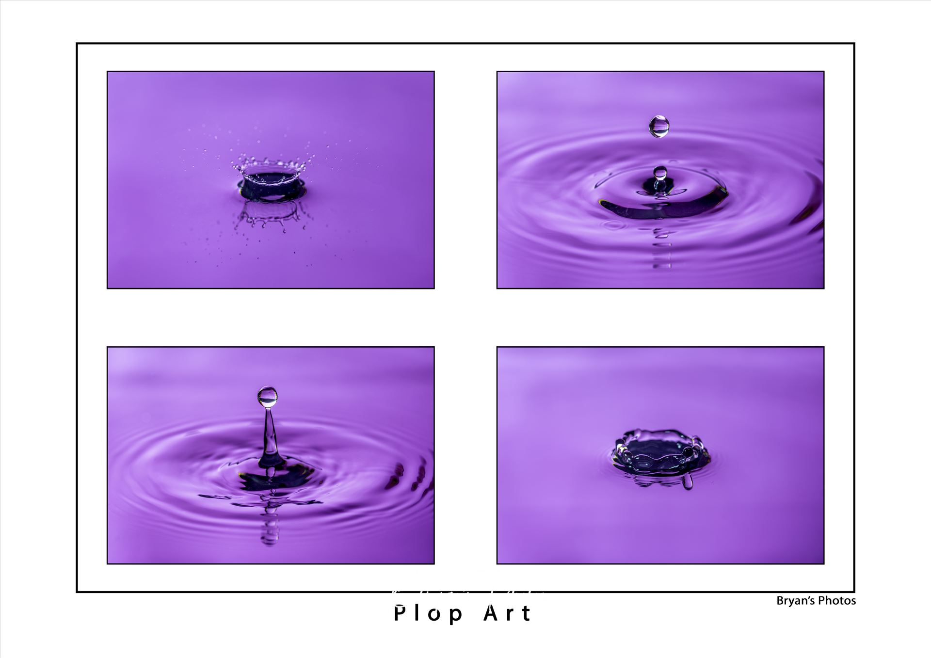 Plop Art An image made up of 4 water drop photographs. by Bryans Photos