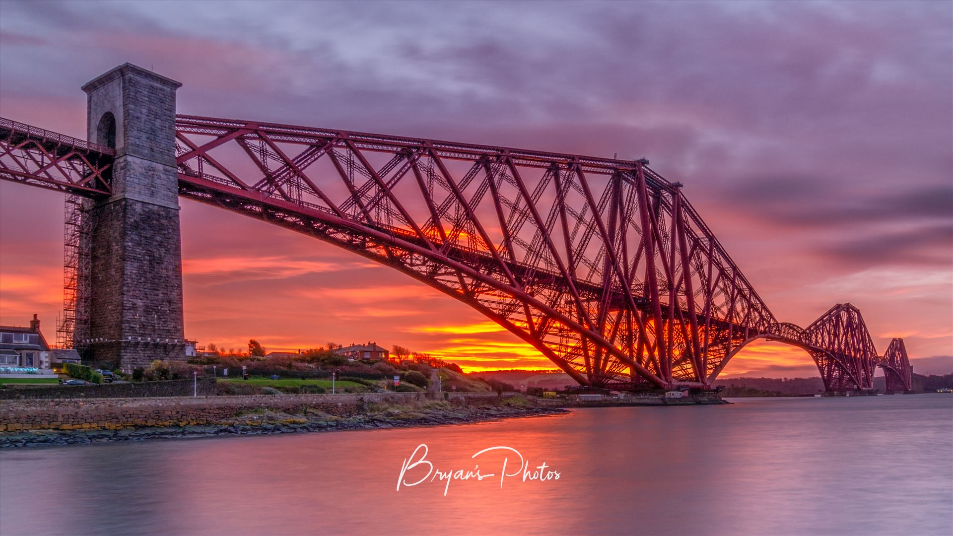 Rail Bridge Sunrise A photograph of the Forth Rail Bridge taken at Sunrise from North Queensferry. by Bryans Photos