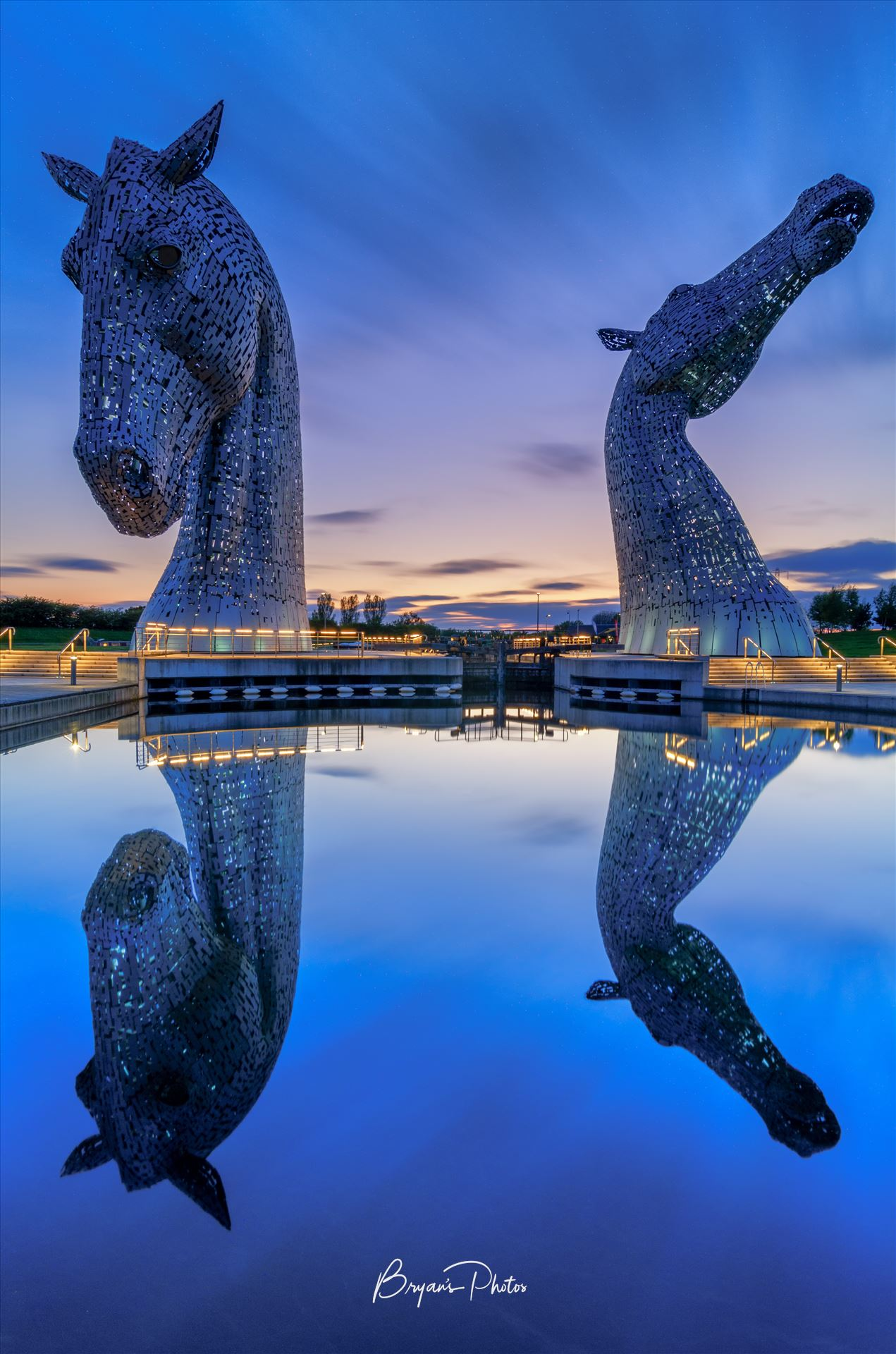 Last Light at the Kelpies A photograph of the Kelpies taken just after sunset. by Bryans Photos