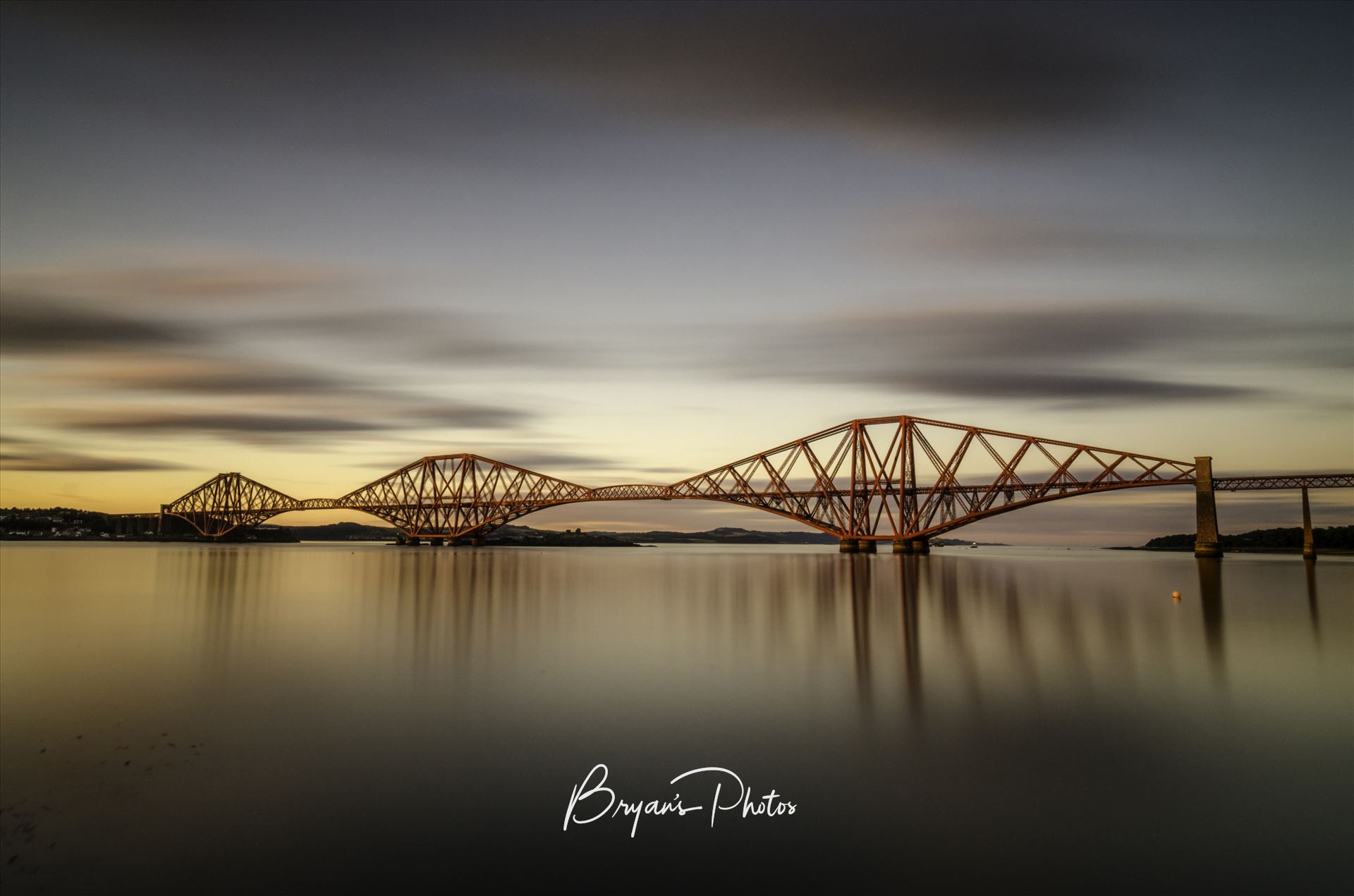 The Bridge at Sunset A long exposure photograph of the Forth Rail Bridge taken at sunset from South Queensferry. by Bryans Photos