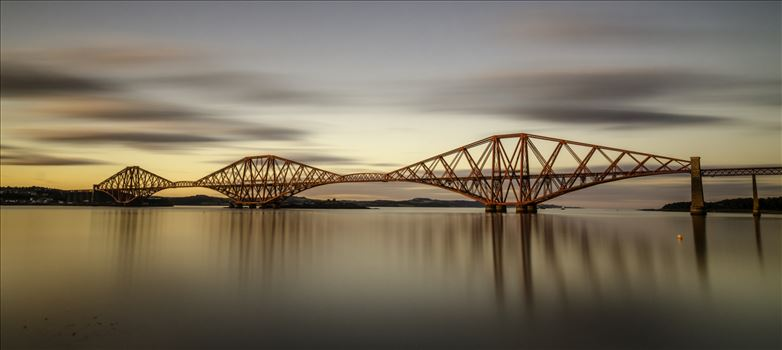 The Bridge at Sunset Panorama - A panoramic long exposure photograph of the Forth Rail Bridge taken at sunset from South Queensferry.