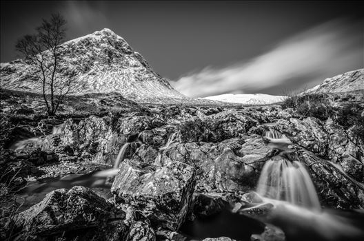 Etive Mor Falls Black & White by Bryans Photos