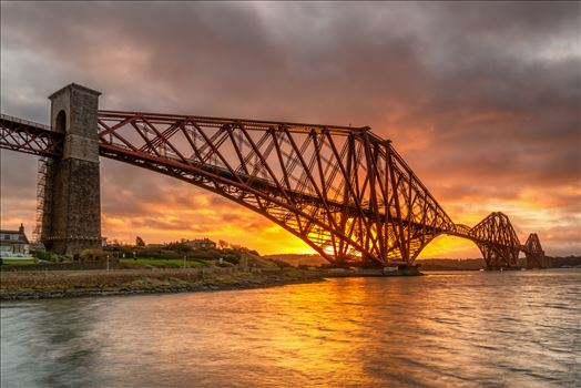 Sunrise at the Bridge - A photograph of the Forth Rail Bridge taken at Sunrise from North Queensferry.