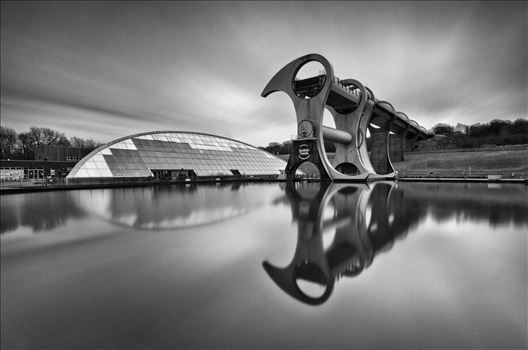 The Wheel - A black and white long exposure photograph of the famous Falkirk wheel.
