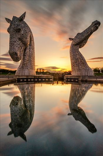 Sundown at the Kelpies by Bryans Photos