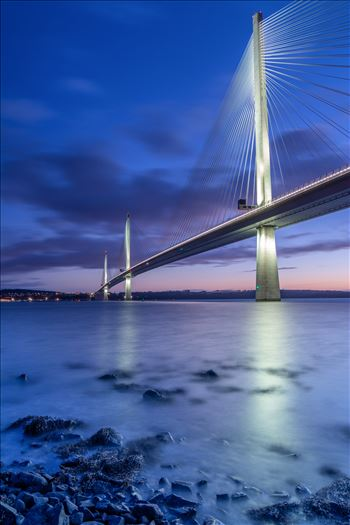 The Crossing at Night - A photograph of the Queensferry crossing at night taken from North Queensferry.