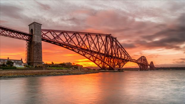 The Bridge at Sunrise Panorama - A photograph of the Forth Rail Bridge taken at Sunrise from North Queensferry.