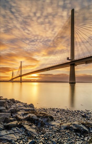 Queensferry Sunset Portrait - A portrait photograph of the Queensferry Crossing taken at sunset from North Queensferry on the Fife coast.
