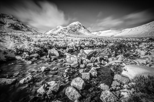 Glen Etive Black & White by Bryans Photos