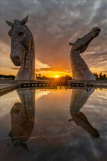 Sunset at the Kelpies by Bryans Photos