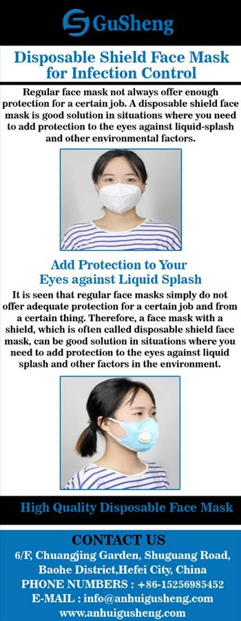 Disposable Shield Face Mask for Infection Control by Anhuigusheng