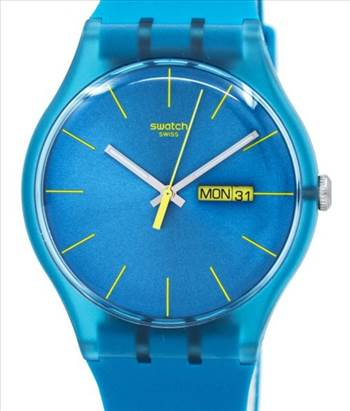 Swatch Originals Turquoise Rebel Quartz Unisex Watch by Jason
