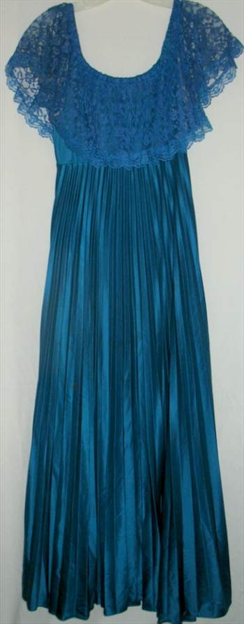 Cobalt blue Lace and pleated dress.jpg 55 Lenght by BudgetGeneral