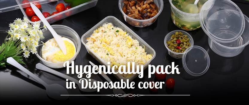 Hygenically Pack in Disposable Cover - At Bhojan tree we pack the food cooked after using the sterilize utensils, washed vegetables, and staff wearing hair caps, gloves and aprons.  https://www.bhojantree.com/tiffin-services-in-andheri-east/