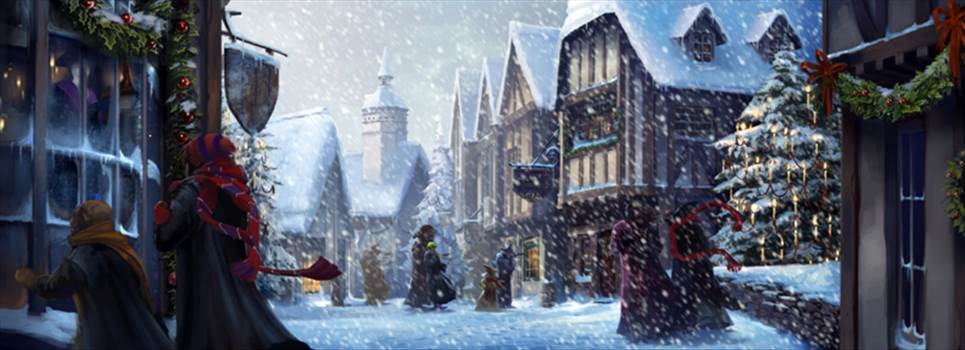 Hogsmeade_PM_B3C10M3-SnowyHogsmeadeWithRonHermioneAndInvisibleHarry_Moment.png by Seductive Hogwarts Mule