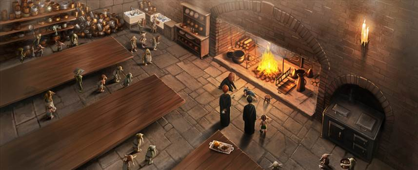 Dobby_PM_B4C21M2_DobbyAndWinkyOtherHouseElvesInHogwartsKitchen_Moment.jpg by Seductive Hogwarts Mule