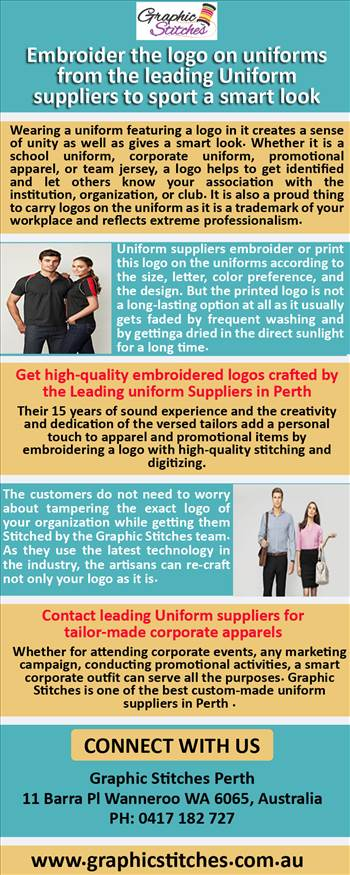 Embroider the logo on uniforms from the leading Uniform suppliers to sport a smart look.jpg by Graphicstitches