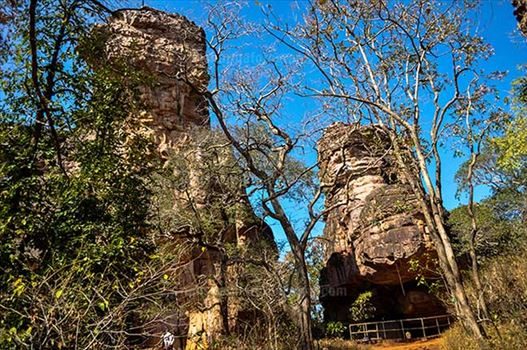 Archaeology- Bhimbetka Rock Shelters - View of Rock Shelters at Bhimbetka archaeological site at Raisen District, Madhya Pradesh, India.